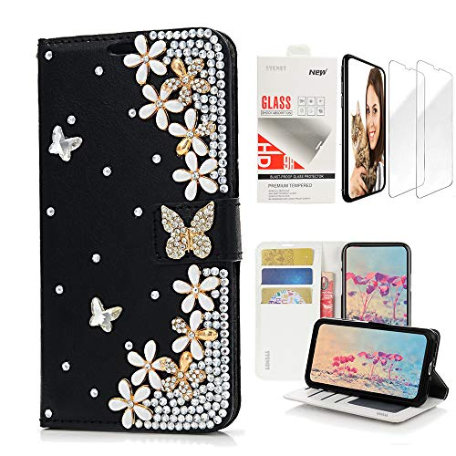 - STENES Bling Wallet Case Compatible with Samsung Galaxy S9 Plus - 3D Handmade Butterfly Flowers Floral Design Leather Case with Wrist Strap & Screen Protector [2 Pack] - Black