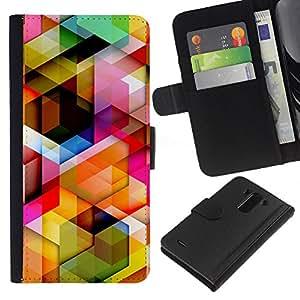 LG G3 D855 D850 D851 , la tarjeta de Crédito Slots PU Funda de cuero Monedero caso cubierta de piel ( 3D Polygon Pattern Maze Dimensional)