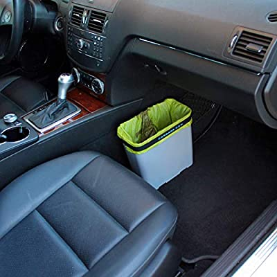 Carbage Can Premium Car Trash Can w/Floor Mat Clip and Bag Securement Band: Automotive