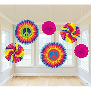 60s 70s Hippie Party Decoration Colourful Hanging Decoration Of 6x