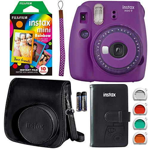 Fujifilm Instax Mini 9 Instant Camera – Purple w/Clear Accents, Fujifilm Rainbow Instant Mini Film, Fujifilm Instax Groovy Camera Case – Black and Fujifilm INSTAX Wallet Album – Black