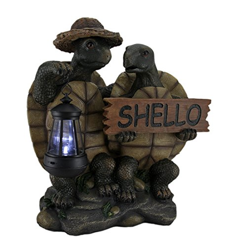 Welcome Turtle Tortoise Shello Hello Sign With Solar Powered Lantern LED Light Statue Figure by DWK