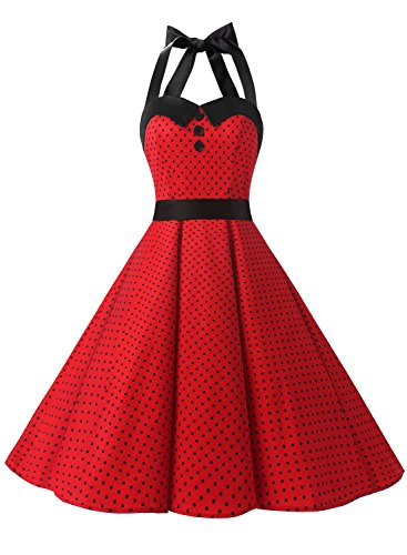 Dressystar Vintage Polka Dot Retro Cocktail Prom Dresses 50's 60's Rockabilly Bandage Red B M