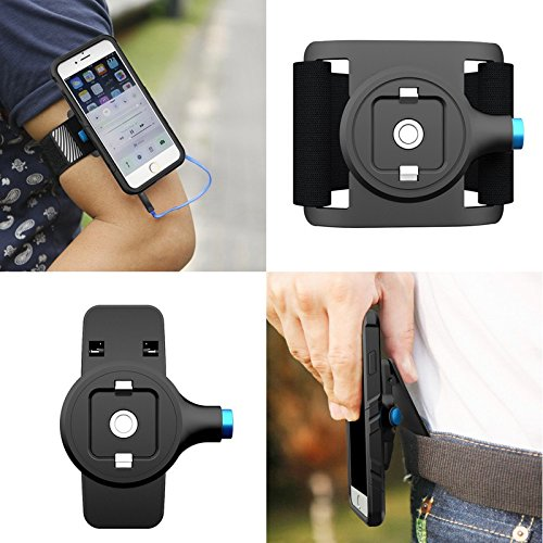 Magnetic Sport Armband Universal Arm Band Belt Clipper fit iPhone 7 6S Plus Samsung Phone Holder,for Running Hiking Biking Walking with Reflective Band Quick On/Off Mount Adjustable(Black) (Wristband Clippers)