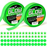 Glow in the Dark Tape and Luminous Stickers - Premium Pack 2 Rolls of UV Glow in the Dark Tape with 30 Fluorescent Stars and 30 Dots Stickers for Home Decor Wall Ceiling Stairs Stage Party Decorations