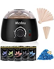 Waxing Kit, Mcdou Upgraded Wax Warmer Electric Hair Removal Kit with 5 Packs Hard Wax Beans and 20 pcs Wooden Applicator Sticks Painless for Legs, Face, Underarm (Black)