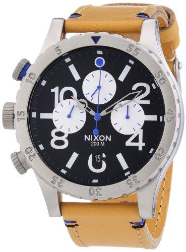 Nixon 48-20 Chronograph Black Dial Tan Leather Mens Watch A3631602