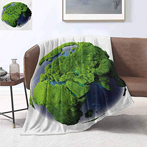 jecycleus Earth Children's Blanket World Covered with Lush Green Forest Grass and Blue Waters Eco Nature Concept Lightweight Soft Warm and Comfortable W60 by L70 Inch Green Violet Blue