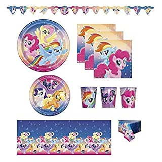 FAKKOS My Little Pony Birthday Party Supplies Pack for 16 Guests Including Banner Table Cover Large and Small Plates Napkins and Cups