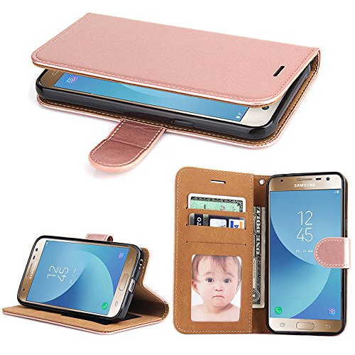 SOWOKO Galaxy J3 Pro Case (2017), Book Style Leather Wallet Case Flip Folio Protection Cover with Credit Card Slots and Kickstand for Samsung Galaxy J3 Pro 2017 (Rose Gold) by SOWOKO