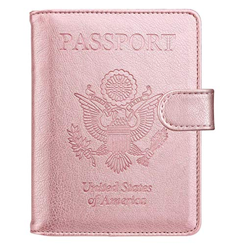 Passport Holder Travel Cover Case - HOTCOOL Leather RFID Blocking Wallet For Passport, Rose Gold (Magnetic)