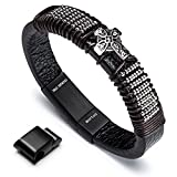 Leather Bracelet Magnetic-Clasp Cowhide Wrap Cross Black Leather Religious Mens Bracelet, 8.7 inch Novelty & More