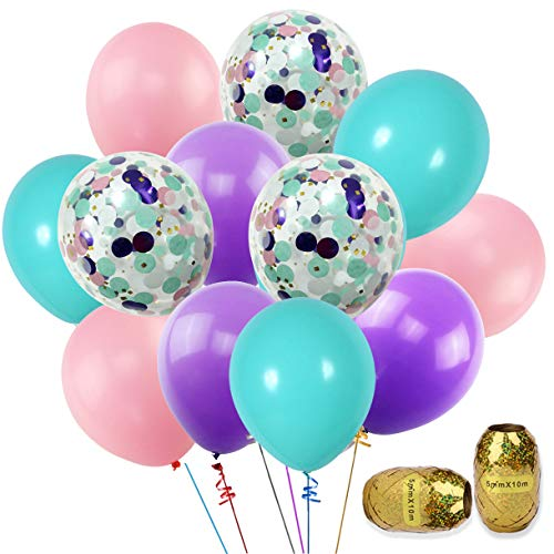 Mermaid Balloons 40 Pack, 12Inch Light Purple Pink Seafoam Blue Latex Balloons with Confetti Balloon for Mermaid Party Decorations Birthday Party, Wedding, Baby Shower with Ribbon -
