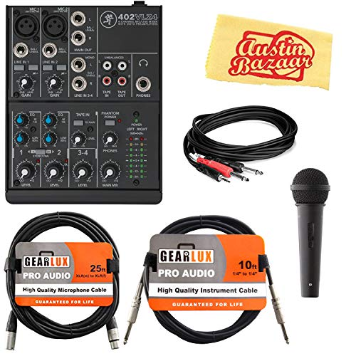 Mackie 402VLZ4 4-Channel Ultra-Compact Mixer Bundle with Microphone, XLR Cable, Instrument Cable, Stereo Breakout Cable, and Austin Bazaar Polishing -