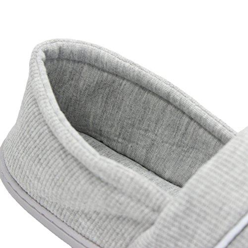 Bestfur Suela De Algodón Suave Para Mujer Lavable Antideslizante Acogedora Casa Zapatos Zapatillas Gris