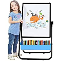 Kids Art Easel U-stand Whiteboard & Chalkboard Double Sided Stand, 70cm -110cm Height Adjustable & 360 Rotating with Bonus Magnetic Letters and Numbers