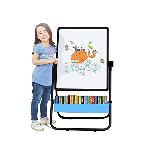 Kids Art Easel U-Stand Whiteboard&Chalkboard Double Sided Stand, 29.5inch-44inch Height Adjustable & 360°Rotating with Bonus Magnetic Letters and Numbers -