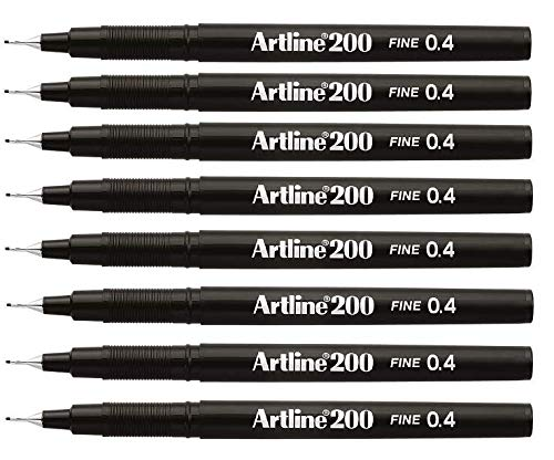 Artline Fineliner Micro sketch artist black pens, fine point 0.4mm - 8 pen set