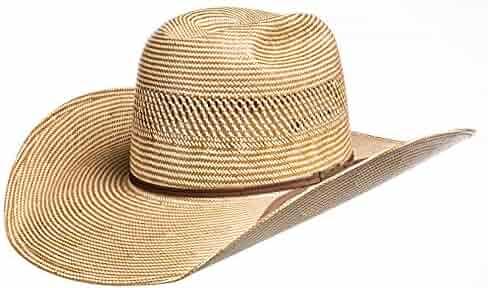 bcd6b586 American Hat Company Mens Ivory/Chocolate 4 1/4 Brim Straw Cowboy Hat