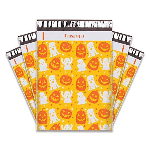 RUSPEPA Halloween Poly Mailer Envelopes - Pumpkin Design Waterproof Shipping Bag - 10x13 Inch - 100Pcs - Orange Pumpkin
