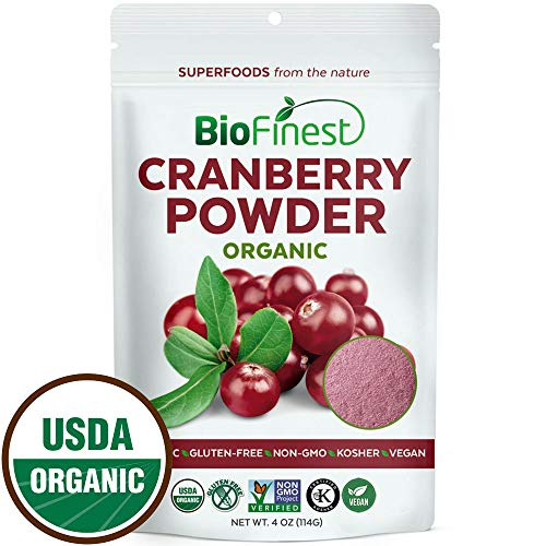 Biofinest Cranberry Juice Powder - 100% Pure Freeze-Dried Superfood - USDA Certified Organic Vegan Raw Non-GMO - Boost Digestion Weight Loss - for Smoothie Beverage Blend (4 oz Resealable Bag)