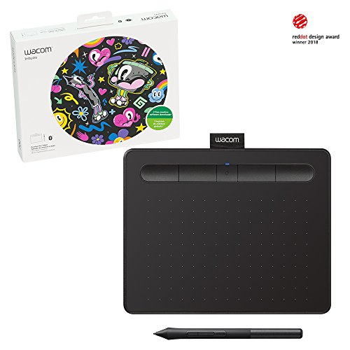 "Wacom Intuos Wireless Graphic Tablet, with 2 Free Creative Software downloads, 7.9"" x 6.3"", Black (CTL4100WLK0)"