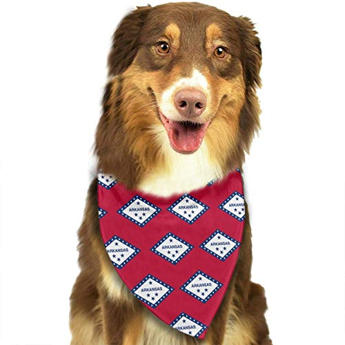 SYWY Washable and Long Lasting Bandanas Arkansas State Flag Pet Dog Cat Bandanas Triangle Bibs Pet Scarf Dog Neckerchief Headkerchief Pet Accessories -