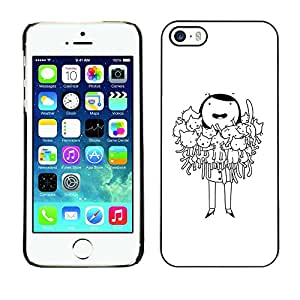 Caucho caso de Shell duro de la cubierta de accesorios de protección BY RAYDREAMMM - Apple iPhone 5 / 5S - Funny Cartoon Drawing Black