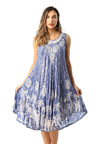 - Riviera Sun Rayon Crepe Marble Sleeveless Umbrella Dress 21840-DNM-S Denim