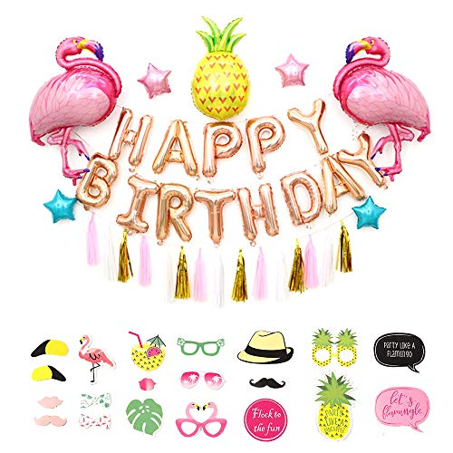 Flamingo and Pineapple Party Supplies - Pack of 55, Flamingo Balloons/Pineapple Balloons/Happy Birthday Set/Tassel Banner/Pentagram Balloon/Flamingo Photo Booth Props, Hawaiian Decorations ()