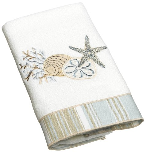 Avanti Linens By The Sea Hand Towel, White (Towels Beach Embroidered)