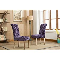 Roundhill Furniture C166PL Grenoble Solid Wood Button Tufted Ice Velvet Dining Chairs Set of 2, Purple