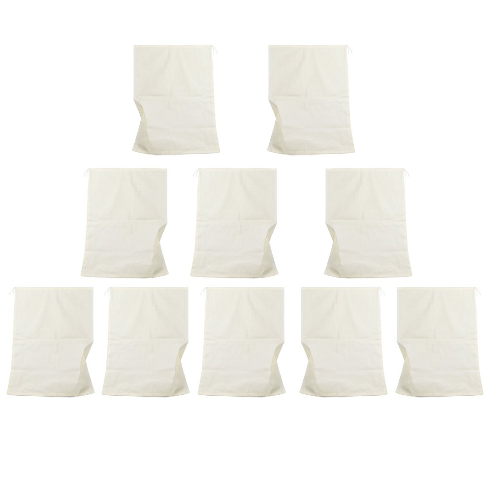 FLAMEER 10pcs/set Reusable Filter Empty Teabags Herb Loose Tea Bag Drawstring Seal - White, 13x16cm