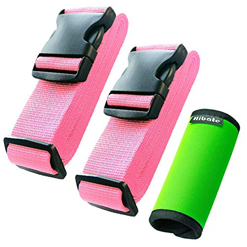 Hibate (2_Pink) Luggage Straps Belts and (1_Green) Neoprene Suitcase Handle Wrap Grip ()