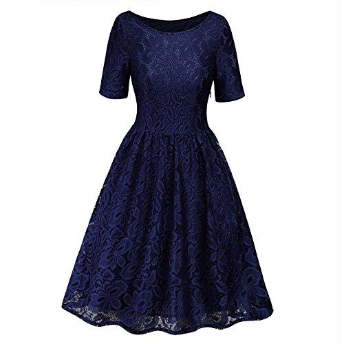 1950s Blue Beyond Swing Lace Big Vintage AV Women Dress Dark wqTUtqg7z