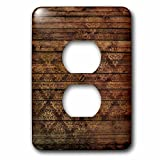 3dRose Anne Marie Baugh - Patterns - Chic Faux Printed Brown Wood With A Faux Gold Diamond Damask - Light Switch Covers - 2 plug outlet cover (lsp_283422_6)