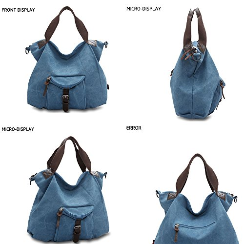 Large Tote Hobo Blue Women Shoulder Womens 326 bags Messenger Capacity Travel Handbags Handbags for LWK Canvas FEnZq0qd