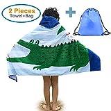 100% Cotton Kids Hooded Beach Bath Towel and Bag Set Large/Poncho Swim Beach Bath Towel Gulls & Crocodile Pattern for Girls Boys 4-14 Years