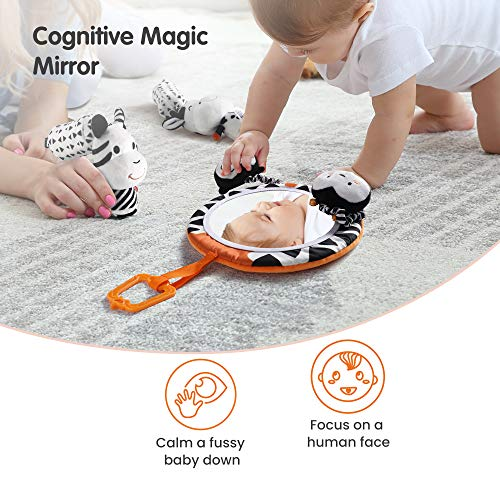 TUMAMA Baby Toys Gift Set Black and White Tummy Time Mirror Plush Rattles Rings and Crinkle Soft Cloth Book Flashcard…
