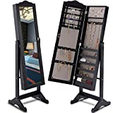 Giantex Lockable Mirrored Jewelry Cabinet Armoire Mirror Organizer Storage Box w/Stand (Black)