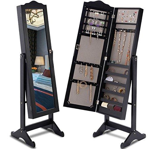 Giantex Lockable Mirrored Jewelry Organizer