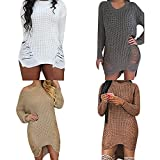Women Sexy Ripped Hole Knitted Sweater Dress Long Sleeve Casual Pullover Tops Outwear