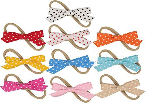 Polka Dot Nylon Headband - Polka Dot Bows on Nylon Baby Headbands For Newborn & Baby Girls - 10 Piece Pack