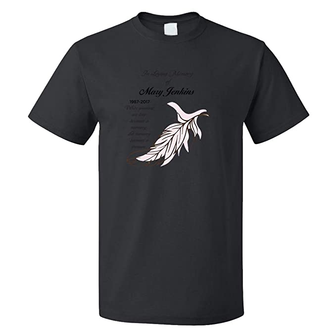 59a1a5d34 Personalized Custom Memorial in Loving Memory Feather Cotton Short Sleeve  Crewneck Unisex Adult T-Shirt