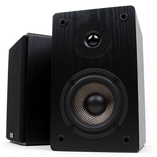 home theater front speakers. micca mb42 bookshelf speakers with 4-inch carbon fiber woofer and silk dome tweeter (black, pair) home theater front