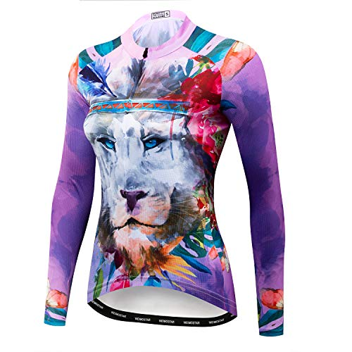 Weimomonkey Women's Long Sleeve Bike Bicycle Riding Cycling Jersey Outdoor Jacket Breathable Tiger Purple XXL
