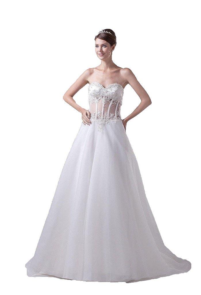DZdress Womens Appliques Sweetheart A-line Lace Up Long Wedding Dress