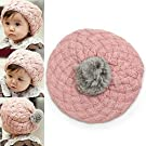 Enjoydeal Autumn Winter Baby Kids Toddler Warm Cap Woolen Knitted Hat Cute Beret Cap (pink)