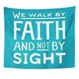 AlliuCoo Wall Tapestries 80 x 60 Inches Word We Walk by Faith Not Sight Design Retro Christian Scripture Bible Verse Colored Beliefs Home Decor Wall Hanging Tapestries Living Room Bedroom Dorm