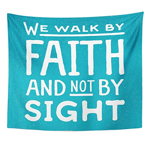 AlliuCoo Wall Tapestries 80 x 60 Inches Word We Walk by Faith Not Sight Design Retro Christian Scripture Bible Verse Colored Beliefs Home Decor Wall Hanging Tapestries Living Room Bedroom Dorm by AlliuCoo